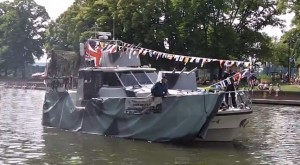 A boat diguised as a warship at the Festival